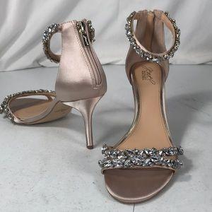 Badgley Mischka jewel satin open toe diamond heels